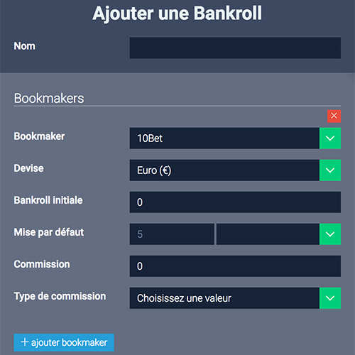 First, set up your account: bankrolls, bookmakers, tipsters, favorite sports
